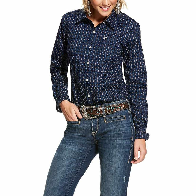Ariat Stretch Midnight Button Down Long Sleeve Women's Shirt Extended Sizes