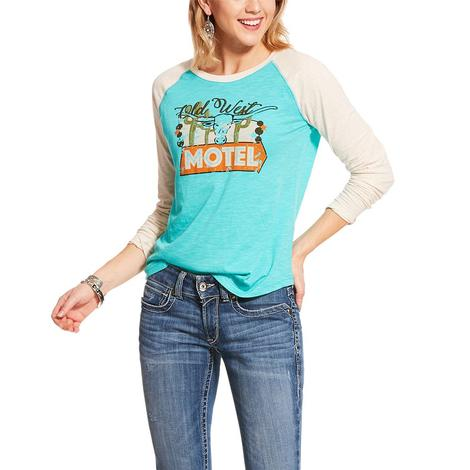 Ariat Old West Raglan Turquoise and White Crew Neck Women's Top
