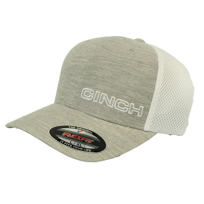 Cinch Flexfit Grey And White Meshback Cap