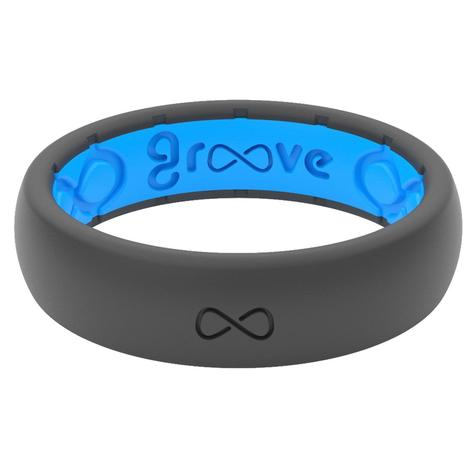 Groove Thin Stone Grey and Blue Silicone Ring