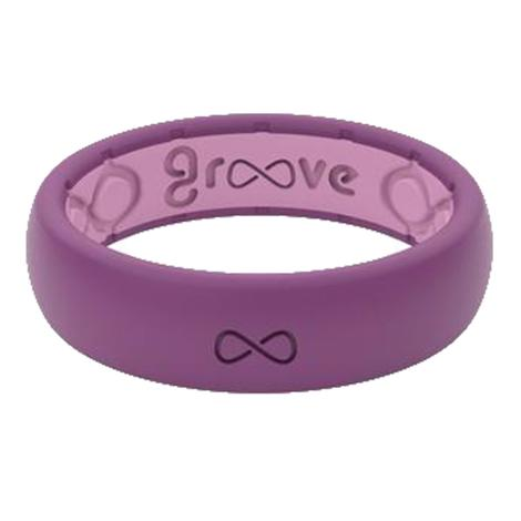 Groove Thin Lilac and Pink Silicone Ring