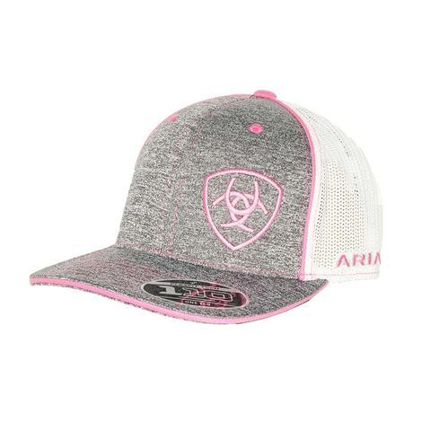 Ariat Heathered Grey Pink Meshback Cap