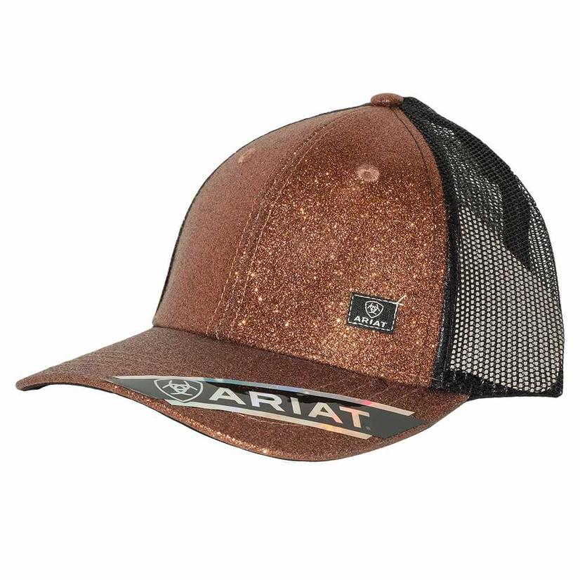 Ariat Messy Bun Sparkle Brown Meshback Cap
