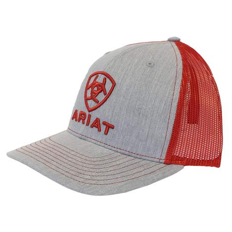 Ariat Grey Red Embroidered Logo Meshback Cap