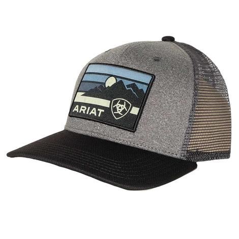 Ariat Grey Black Sunset Patch Meshback Cap