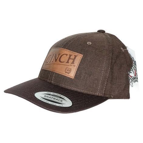 Cinch Dark Brown Leather Patch Cap