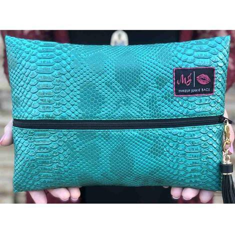 Makup Junkie Turquoise Cobra Makeup Bag - Size Small