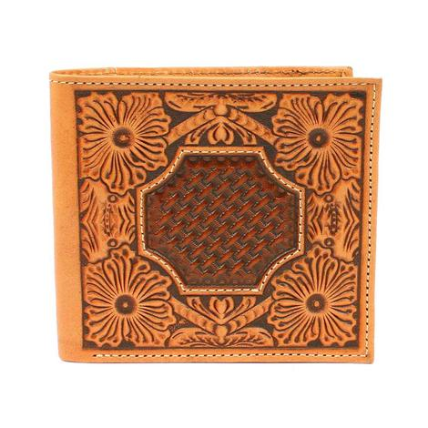 Ariat Tan Floral and Basketweave Tooled Bifold Wallet