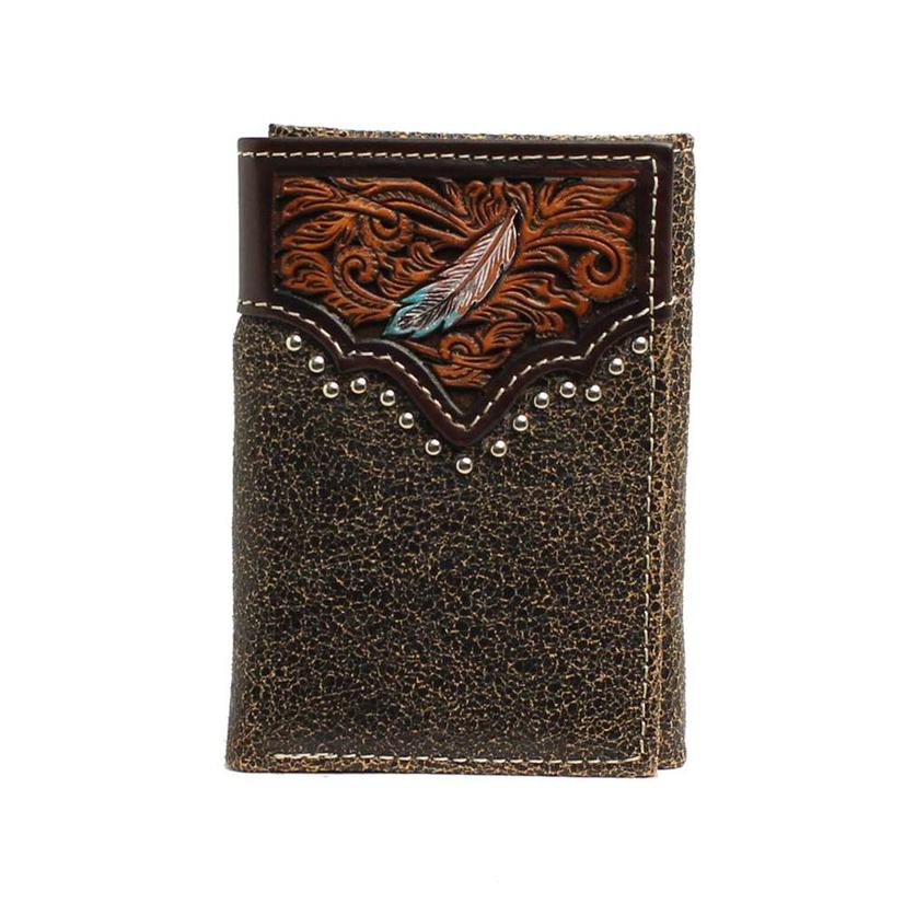 Ariat Brown Leather Feather Tooled Trifold Wallet