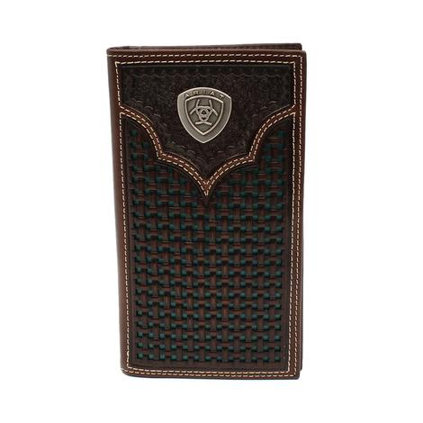 Ariat Basketweave Tooled Dark Brown Leather Bifold Wallet