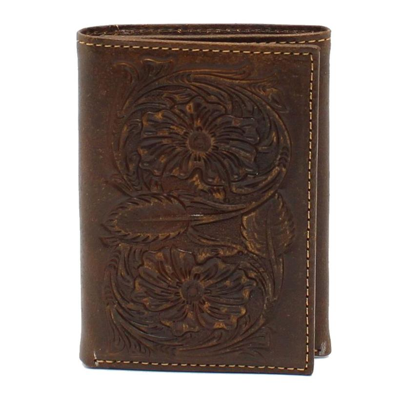 Ariat Leather Floral Tooled Embossed Trifold Wallet
