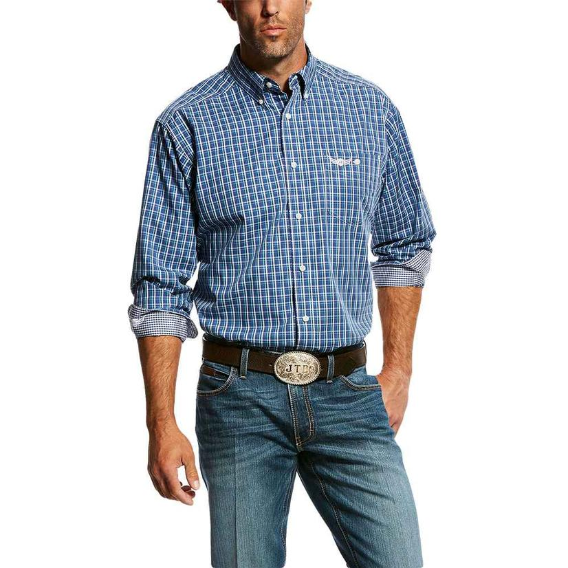 Ariat Relentless Spirit Navy Plaid Buttondown Men's Long Sleeve Shirt