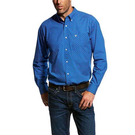 Ariat Blue Ohlinger Print Long Sleeve Button Down Men's Shirt