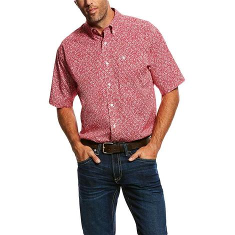 Ariat Red Oferrell Stretch Short Sleeve Button Down Men's Shirt