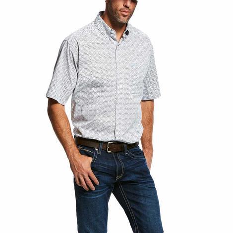 Ariat White Pattern Stretch Short Sleeve Men's Shirt