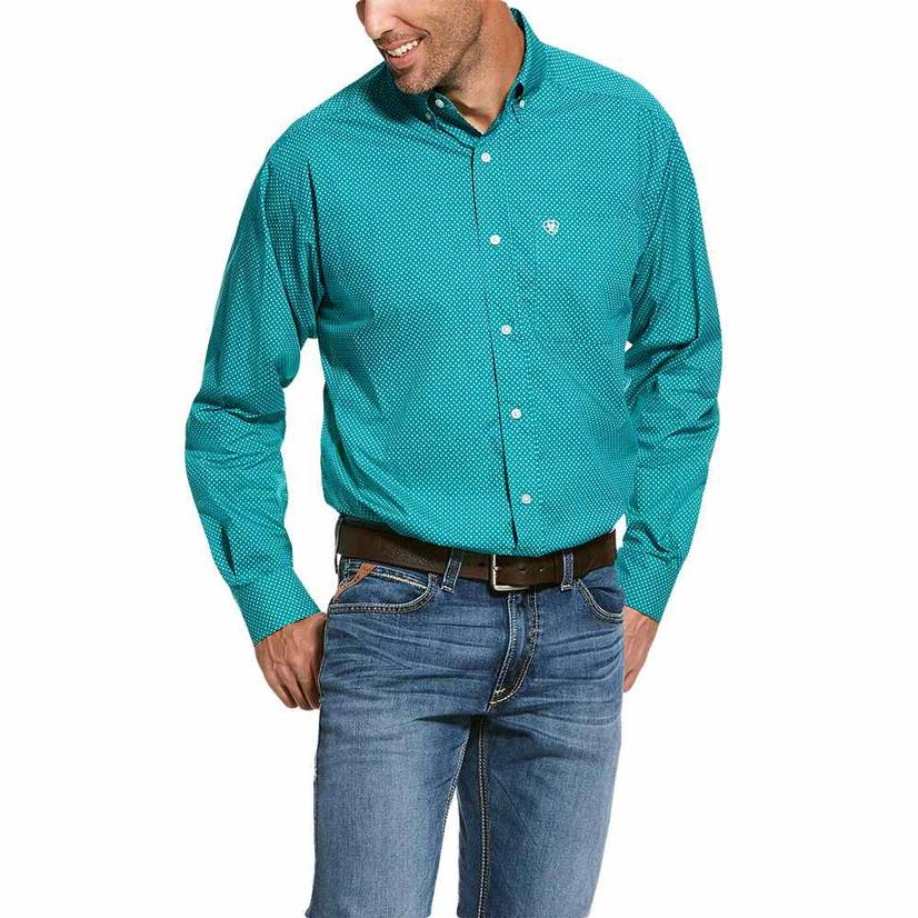 Ariat Rivers Trail Geo Print Turquoise Button Down Long Sleeve Men's