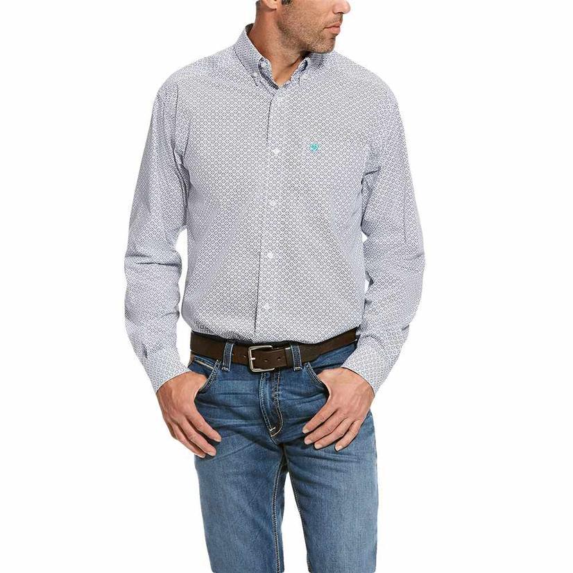 Ariat Randall White Geo Print Long Sleeve Button Down Men's Shirt