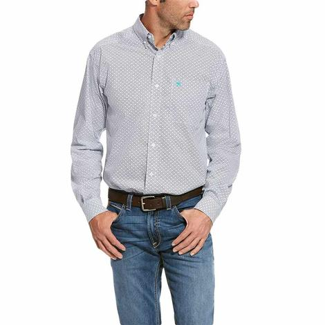 Ariat Randall White Geo Print Long Sleeve Button Down Men's Shirt