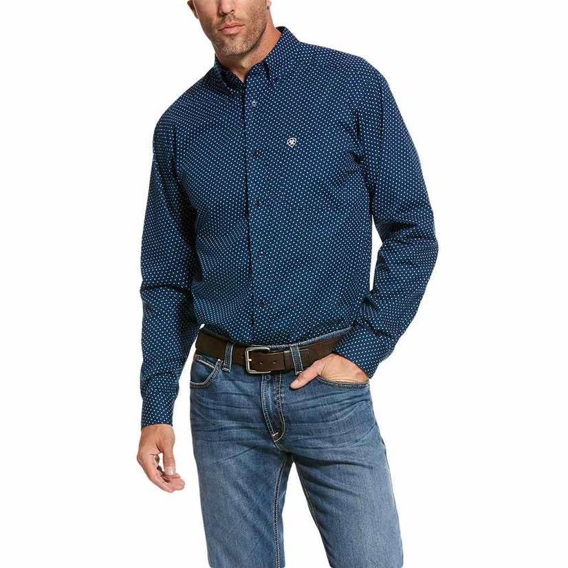 Ariat Navy Fitted Rosano Long Sleeve Men's Shirt