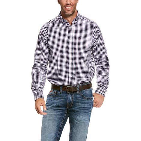 Ariat Shane Navy Purple Gingham Long Sleeve Buttondown Men's Shirt