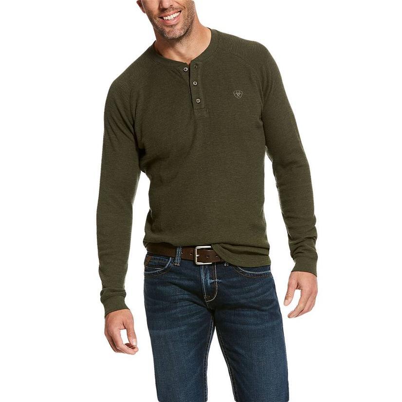 Ariat Raglan Waffle Long Sleeve Green Henley Men's Shirt