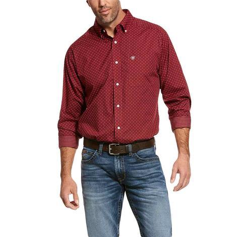 Ariat Wrinkle Free Merlot Print Long Sleeve Buttondown Men's Shirt