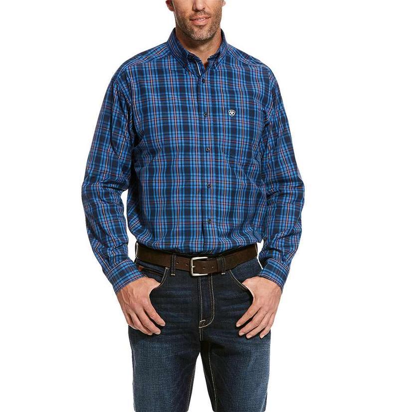Ariat Thorne Navy Plaid Long Sleeve Buttondown Men's Shirt