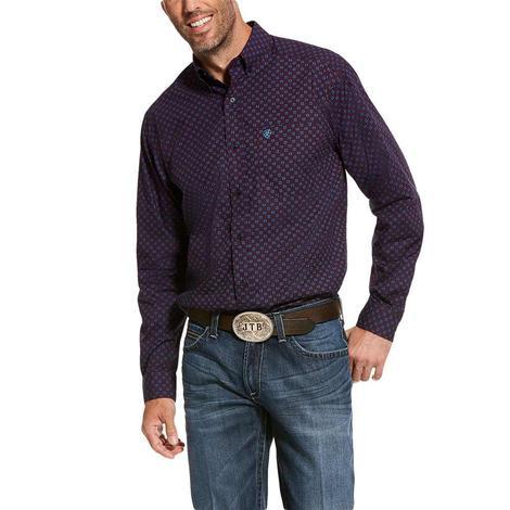 Ariat Tankson Maroon Blue Print Long Sleeve Buttondown Men's Shirt