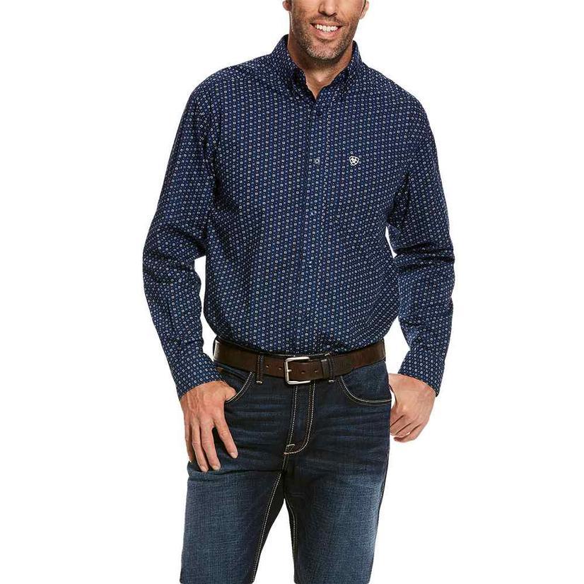 Ariat Trewin Navy Blue Print Long Sleeve Buttondown Men's Shirt