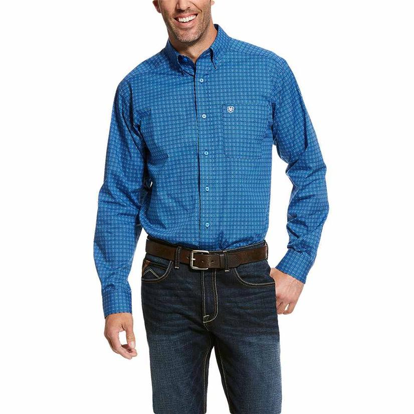 Ariat Fitted Trennor Stretch Blue Long Sleeve Buttondown Men's Shirt
