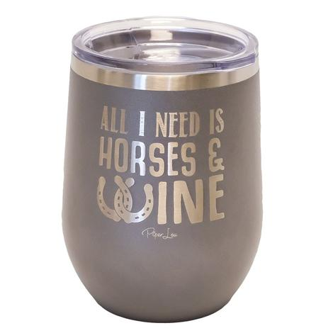 Piper Lou All I Need is Horses & Wine Grey Cup 12oz