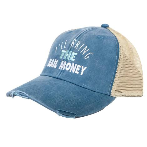 I'll Bring the Bail Money Teal Blue Meshback Cap