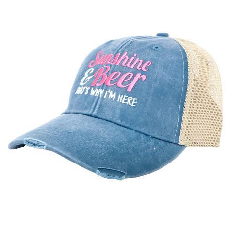 Sunshine & Beer Teal Blue Meshback Cap