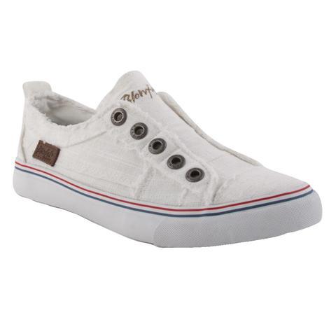 Blowfish Play White Canvas Slipon Women's Shoes