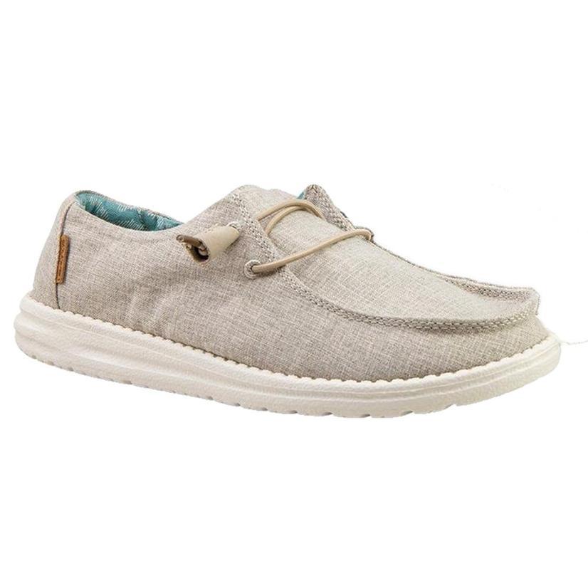 Hey Dude Wendy Linen Chambray Beige Slip On Women's Shoes