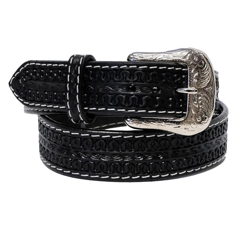 Twisted X Black Leather Belt With Silver Buckle
