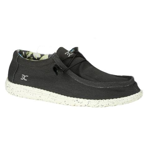 Hey Dude Wally Black Stretch Men's Shoes