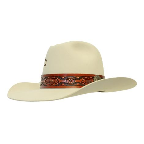 Charlie 1 Horse Chief Bone with Tooled Band 3.5in Brim Felt Hat