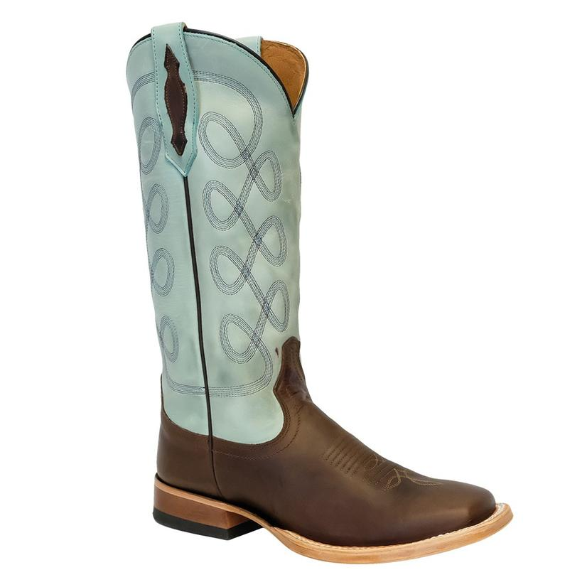 Tony Lama Sandy Brown Vaca Sky Blue Women's Boots