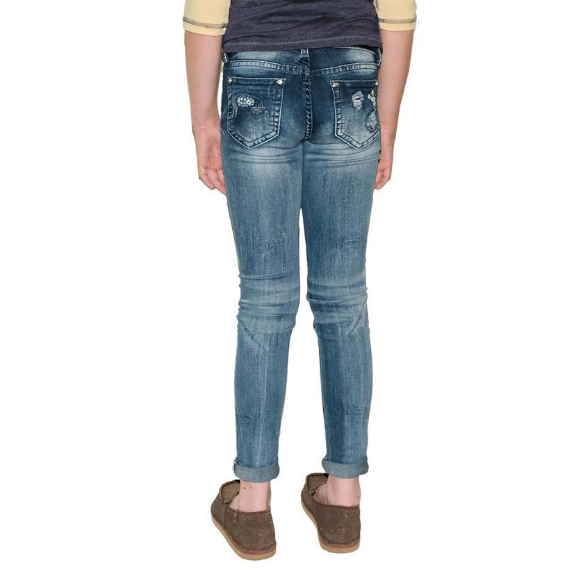 Grace In La Girl's Patch Skinny Jeans