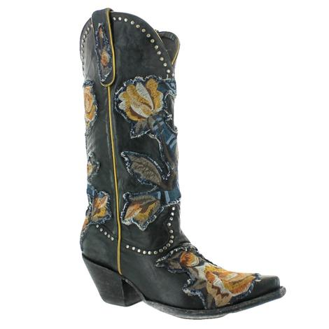 Old Gringo Carla Black Orange Floral Women's Boots