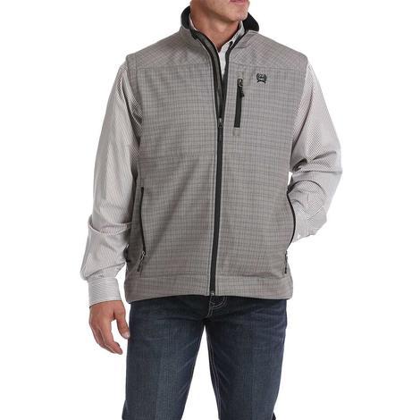 Cinch Grey Plaid Printed Men's Bonded Vest