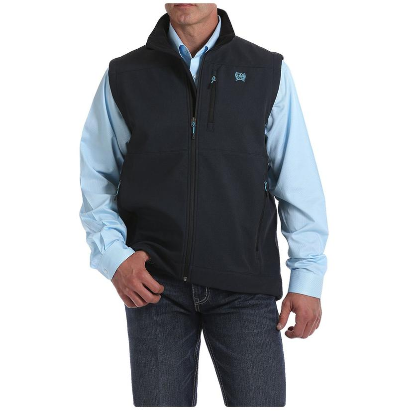 Cinch Black Bonded Men's Vest With Sky Blue Accents