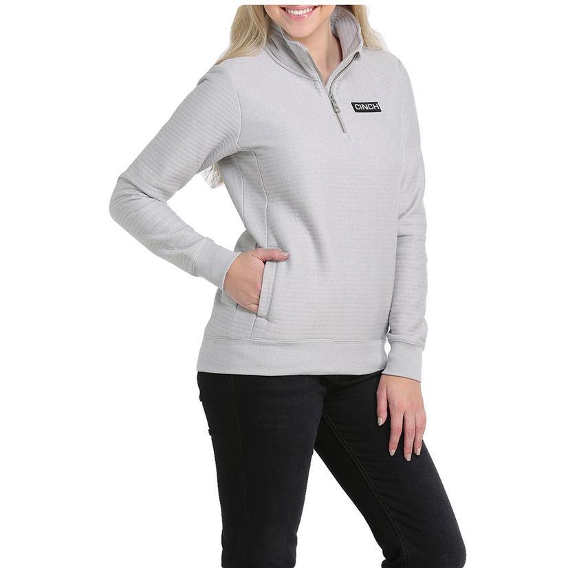 Cinch Grey Quarter Zip Poly Cotton Knit Women's Pullover