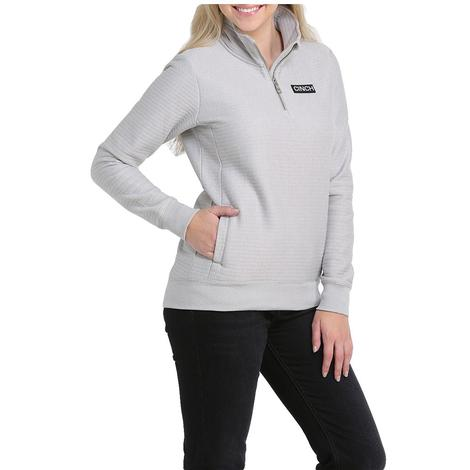 Cinch Grey Quarter Zip Poly Cotton Knit Women's Pullover