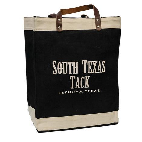 South Texas Tack Black Jute Tote Bag
