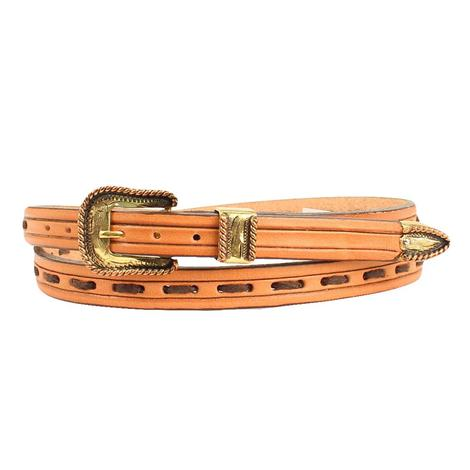 Tan Leather Hatband with Gold Buckle and Dark Brown Lacing