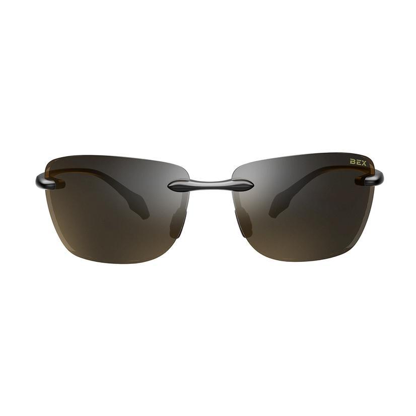 Bex Jaxyn X Glossy Black Brown Sunglasses