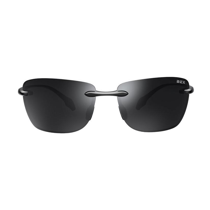 Bex Jaxyn X Glossy Black Grey Sunglasses