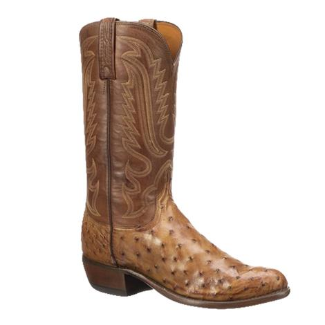 Lucchese 1883 Luke Barnwood Brown Full Quill Ostrich Men's Boots